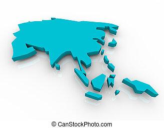 Mapa de asia azul