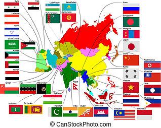 Mapa de Asia con banderas del país. Ilustración del vector