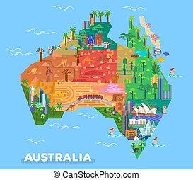 Mapa de Australia con marcas de arquitectura