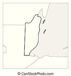 Mapa de Belice, con un espesor de espesor negro resaltado con países vecinos