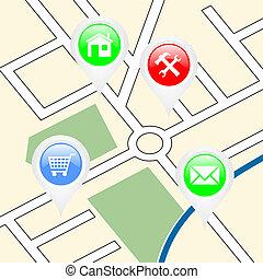 Mapa de calle con apuntadores