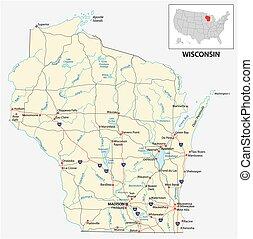 mapa de camino, estado, norteamericano, wisconsin, nosotros