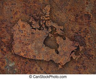 Mapa de Canadá con metal oxidado