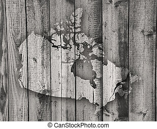 Mapa de Canadá sobre madera climatizada