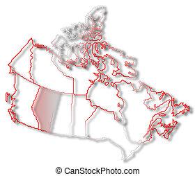 Mapa de canada, alberta resaltada