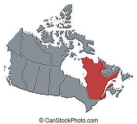 Mapa de canada, quebec resalta