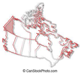 Mapa de canada, yukon resaltado
