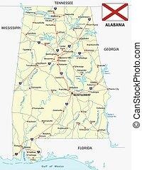Mapa de carretera de Alabama con bandera