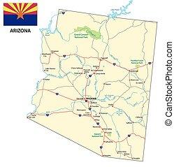 Mapa de carretera de Arizona con bandera
