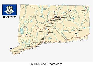 Mapa de carretera de Connecticut con bandera