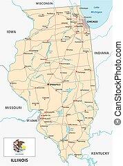 Mapa de carretera de Illinois con bandera