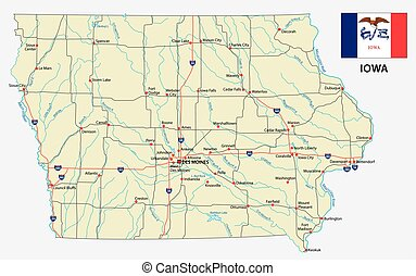 Mapa de carretera de Iowa con bandera