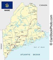Mapa de carretera de Maine con bandera