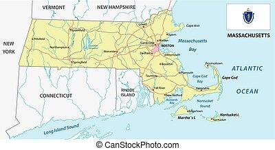 Mapa de carretera de Massachusetts con bandera