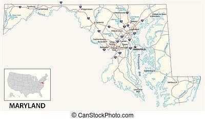 Mapa de carretera del Estado Americano de Maryland