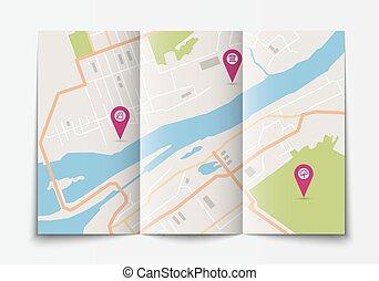 Mapa de ciudad de papel abierto
