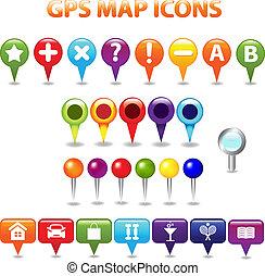 mapa de color, gps, iconos