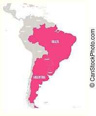 Mapa de condados MERCOSUR. Asociación comercial sudamericana. El miembro destacado indica Brasil, Paraguay, uruguay y argetina. Desde diciembre de 2016