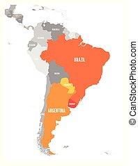 Mapa de condados MERCOSUR. Asociación comercial sudamericana. Los miembros de color naranja resaltan Brasil, paraguay, uruguay y argetina. Desde diciembre de 2016