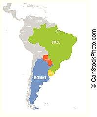Mapa de condados MERCOSUR. Asociación comercial sudamericana. Miembro de alto nivel establece Brasil, Paraguay, uruguay y argetina. Desde diciembre de 2016