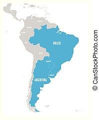Mapa de condados MERCOSUR. Asociación comercial sudamericana. Miembros destacados azules afirma Brasil, Paraguay, uruguay y argetina. Desde diciembre de 2016