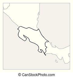 Mapa de Costa Rica con un espesor delineado con países vecinos