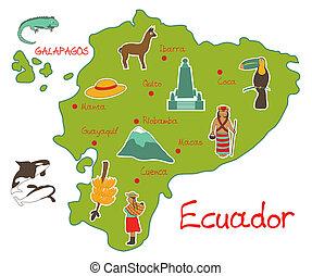 Mapa de ecuador con rasgos típicos