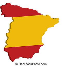 Mapa de España con bandera