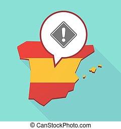 Mapa de España con una señal de advertencia