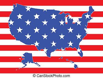 Mapa de Estados Unidos con bandera