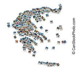 Mapa de Grecia - collage hecho de fotos de viaje