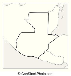 Mapa de guatemalteco con esmalte negro destacado con países vecinos