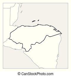Mapa de Honduras con un espesor de espesor de espesor delineado con países vecinos