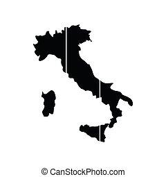Mapa de icono italiano, estilo plano