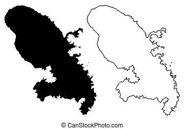 Mapa de isla Martinica