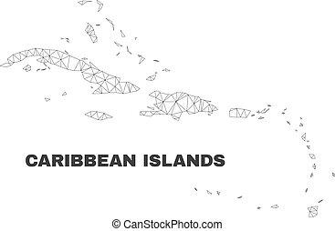 Mapa de islas caribeñas poligonales Vector