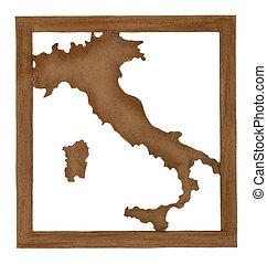 Mapa de Italia cortada de papel viejo