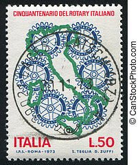 Mapa de Italia y emblema rotatorio