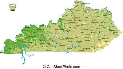 mapa de kentucky, físico