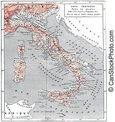 Mapa de la antigua Italia, grabado antiguo.