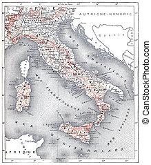 Mapa de la Italia moderna, grabado añejo.