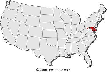 Mapa de los Estados Unidos, maryland resaltado