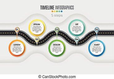Mapa de navegación informativa 5 pasos concepto de línea temporal. Ladrón