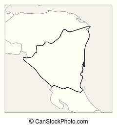 Mapa de nicaragüense negro espeso delineado con países vecinos