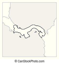 Mapa de Panamá, con un espesor esquema negro resaltado con países vecinos