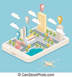 Mapa de pueblo isométrico con GPS