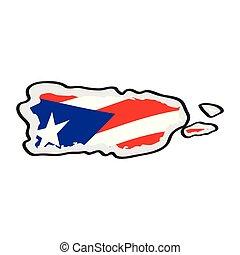 Mapa de Puerto Rico con su bandera