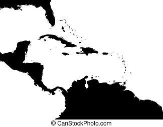 Mapa de región caribeña y América Central. Silueta de tierra negra y agua blanca. Simple ilustración del vector plano