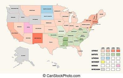 Mapa de religión en los Estados Unidos de América