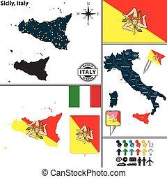 Mapa de Sicilia, Italia